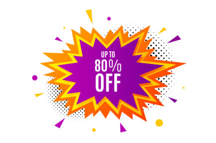 Up to 80% off Sale. Discount offer price sign. Vector