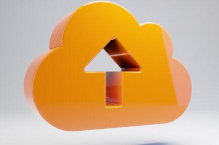 Volumetric glossy hot orange Cloud Upload icon isolated on white background.