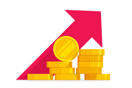 Money growth vector illustration, flat golden coins pile with revenue graph, concept of income increase or earnings, financial boost chart, success capital investment, cash budget isolated
